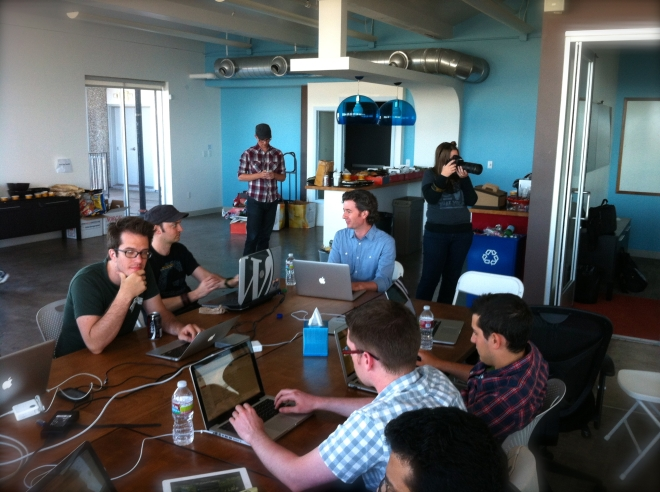 WordPress 3.5 dev day, this is part of the table working on Twenty Twelve with me.