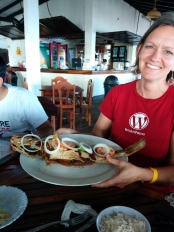 Karen showing the fried fish!