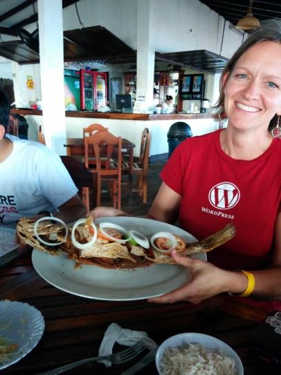 Karen showing the fried fish!