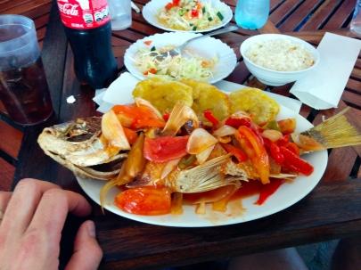 A big, fried fish.