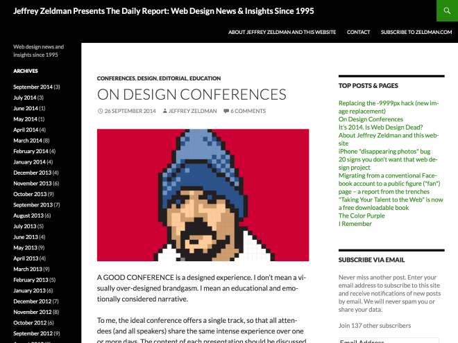 Jeffrey Zeldman Presents The Daily Report-Web Design News & Insights Since 1995 | Web design news and insights since 1995 - cropped