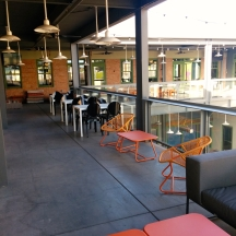 The mezzanine has comfy chairs and places to work.