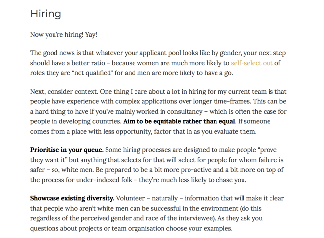 Screenshot from Cate Huston's post about improving diversity in hiring.
