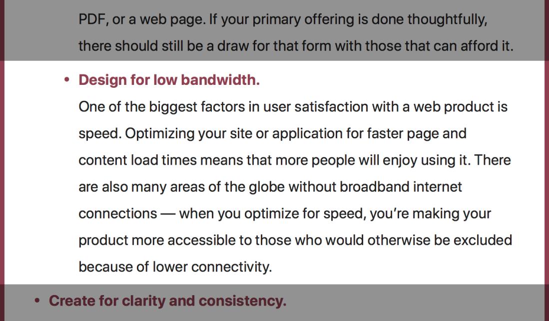 Automattic Inclusive Design Checklist item about designing for low bandwidth.