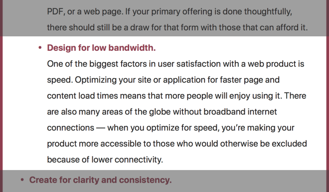 Automattic Inclusive Design Checklist item about designing for low bandwidth.