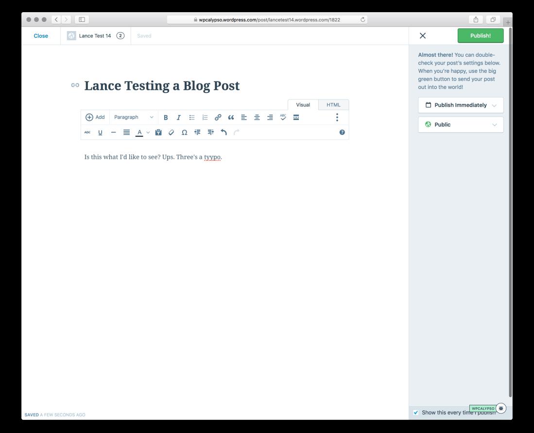 The WordPress.com editor screen