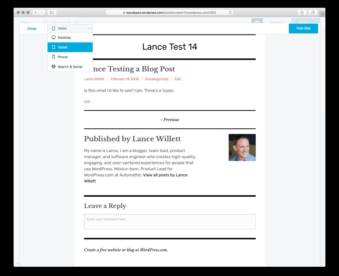 The WordPress.com preview pane.